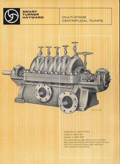 Cover of historical brochure for Multi-stage centrifugal pumps